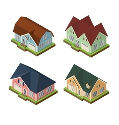 Isometric 3d private house icons set vector