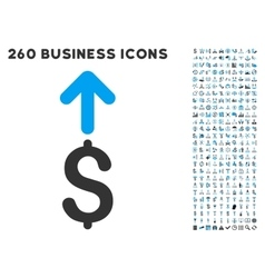 Send dollar icon with flat set vector