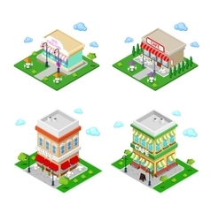 Isometric city cafe with tables and trees vector