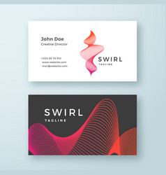 Abstract blend swirl business card template vector