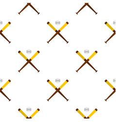 Baseball bats and baseball pattern seamless vector