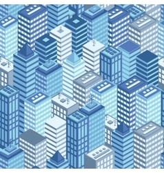 Blue flat isometric city seamless pattern vector