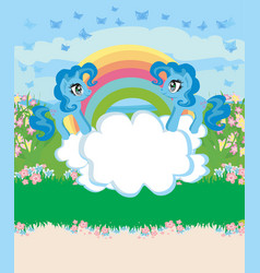 Card with a cute unicorns rainbow and flowery vector