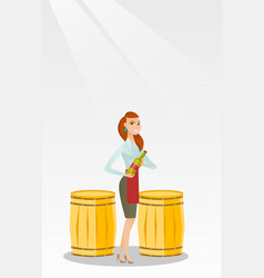 Caucasian waitress holding a bottle of wine vector