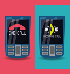 Cellphones with calling and end call vector