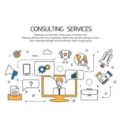 Consulting services outline concept technical vector image