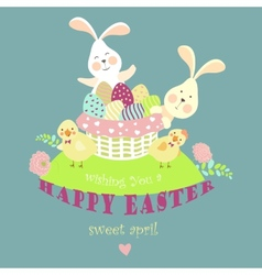 Easter bunnieschicken and easter eggs vector image vector image