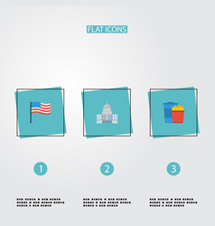 Flat icons america government snack and other vector