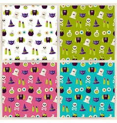 Flat magic halloween witch seamless pattern set vector