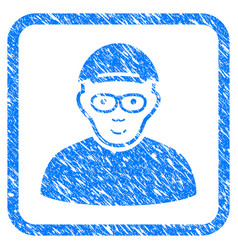 Geek framed stamp vector