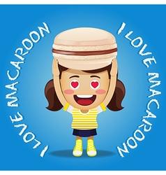 happy woman carrying big pink macaroon or macaron vector image vector image