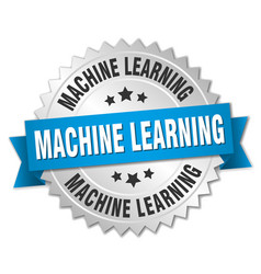 Machine learning round isolated silver badge vector