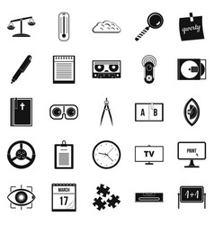 Obtaining knowledge icons set simple style vector