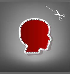 People head sign red icon with for vector