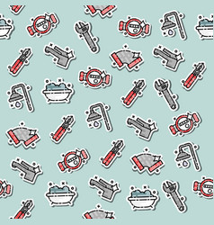 plumbing concept icons pattern vector image vector image