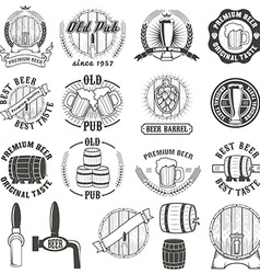 Set of beer labels badges and design elements vector