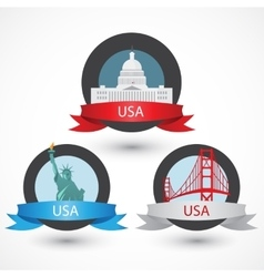 Set of USA famous monuments Capitol Golden Gate vector image