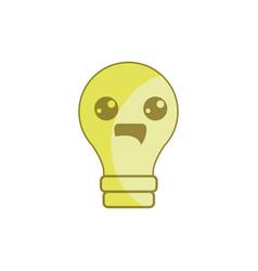 Silhouette kawaii cute happy bulb icon vector