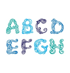 Swirly hand drawn font letters set A-H vector image