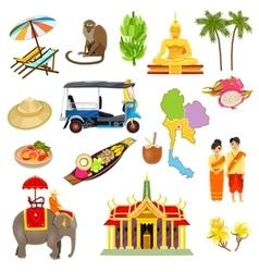 Thailand icons set vector