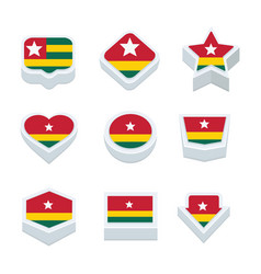 Togo flags icons and button set nine styles vector