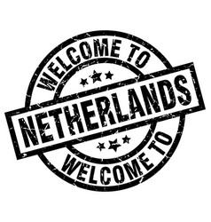 Welcome to netherlands black stamp vector