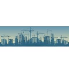 Wide banner of buildings under vector image