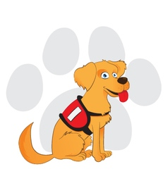 Cartoon service dog sitting on a paw background vector