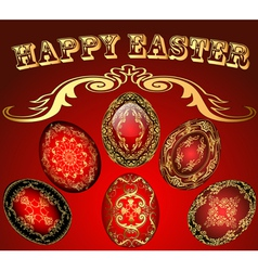 Easter card with the eggs with gold ornament vector