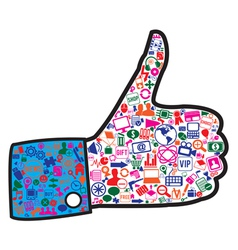 Hand with social media icons vector