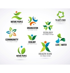 Green nature symbols elements and icons vector