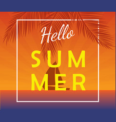Hello summer poster with sailing yacht vector