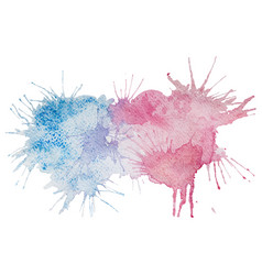 Pink and blue watercolor splash stain vector