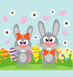 Holiday easter background card with funny rabbits vector