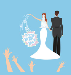 Wedding couple bride throws her wedding bouquet vector