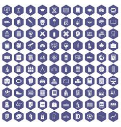 100 school icons hexagon purple vector image
