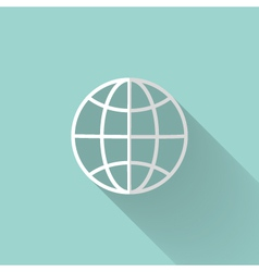 White globe icon over mint vector