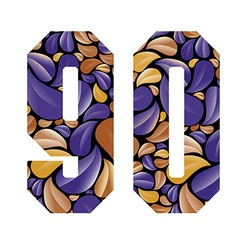 Beautiful floral numbers 9 and 0 vector