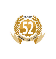 52 years ribbon anniversary vector image