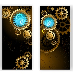 Two banners with gears vector