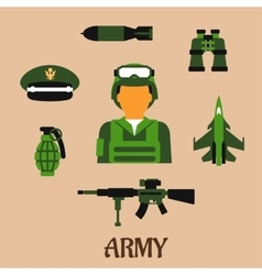 Army soldier and military flat icons vector