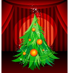 Christmas tree on stage vector
