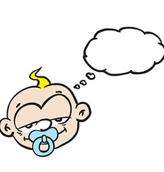 Sleepy baby with thought bubble vector