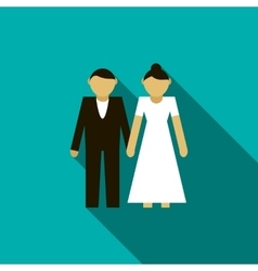 Wedding couple icon flat style vector