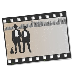 Film frame with silhouettes gangsters vector