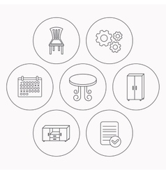 Chair table and cupboard icons vector