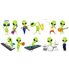 set of green aliens music vector image