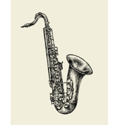 Jazz music hand drawn sketch saxophone musical vector