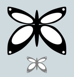 Black and grey butterfly in the simple style vector