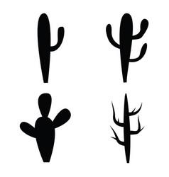 Black silhouettes of cactus vector